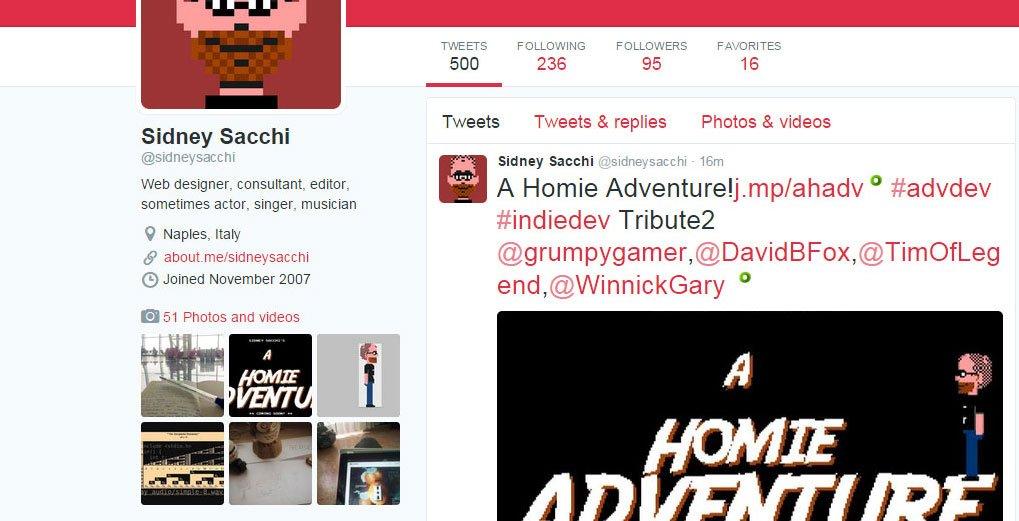 Screenshot del tweet numero 500 di Sidney Sacchi