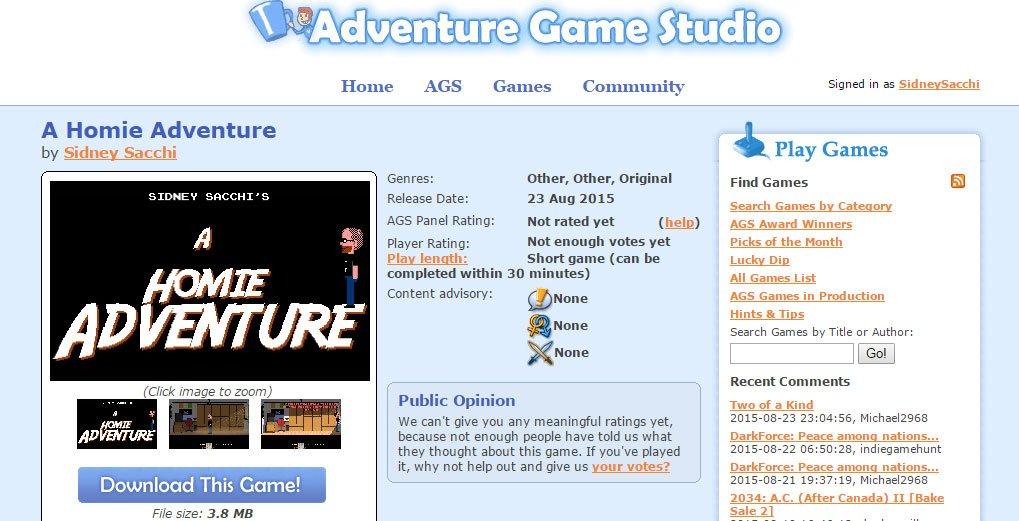 Schermata del gioco A homie adventure di Sidney Sacchi sul sito Adventure Game Studio